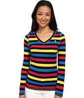 U.S. POLO ASSN. - Long Sleeve Striped Slub V-Neck T-Shirt