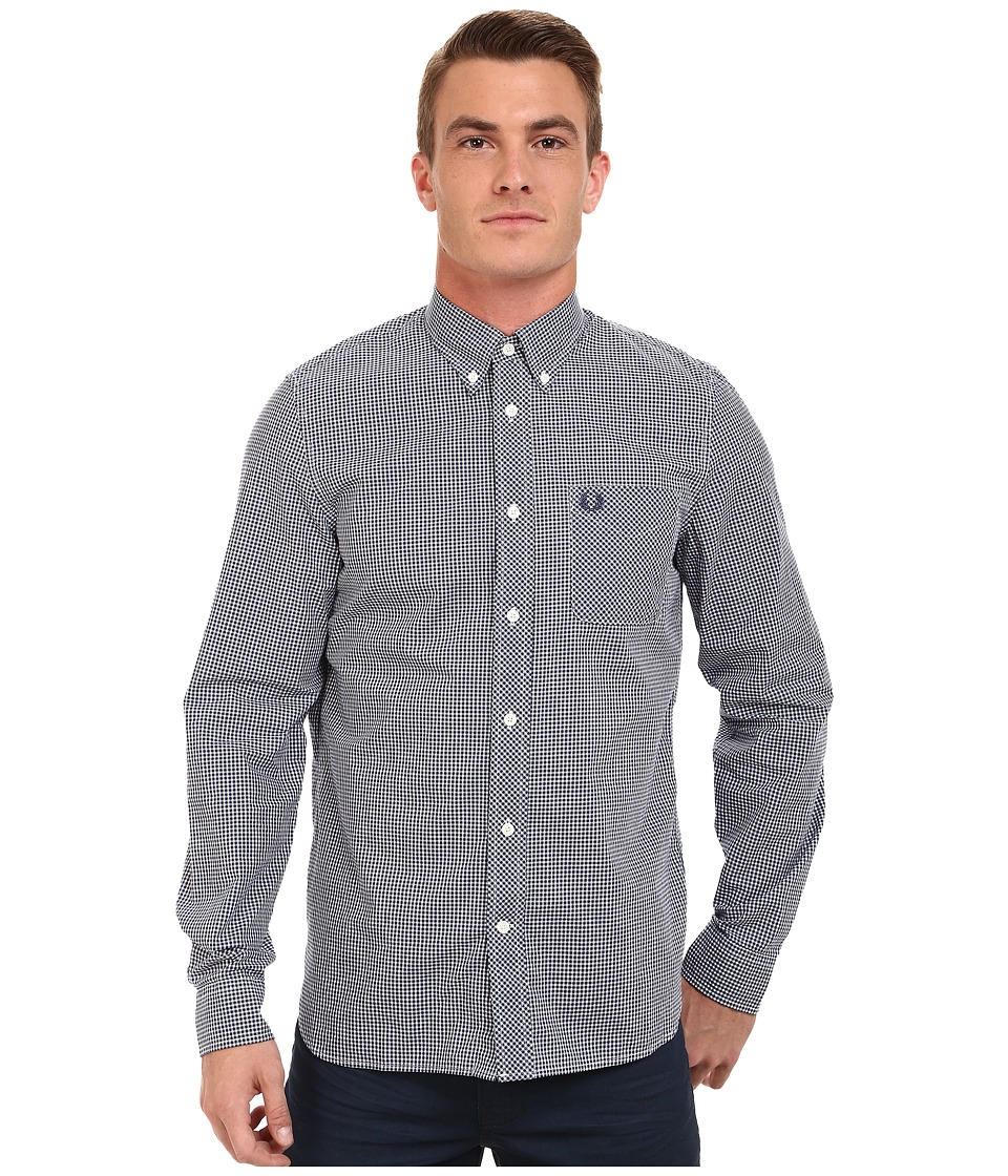 Fred Perry Long Sleeve Classic Gingham Shirt (Medieval Blue) Men's Clothing