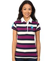 U.S. POLO ASSN. - Striped Polo White Twill Collar