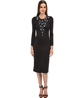 Just Cavalli - Jersey Long Sleeve Cheetah Inset Dress