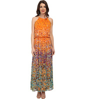 Maggy London - Painterly Spot Chiffon Blouson Maxi