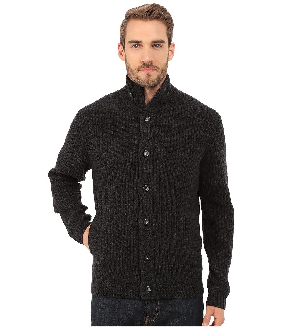 Rodd amp Gunn Elsdon Zip and Button Cardigan Sweater Jacket Charcoal Mens Sweater