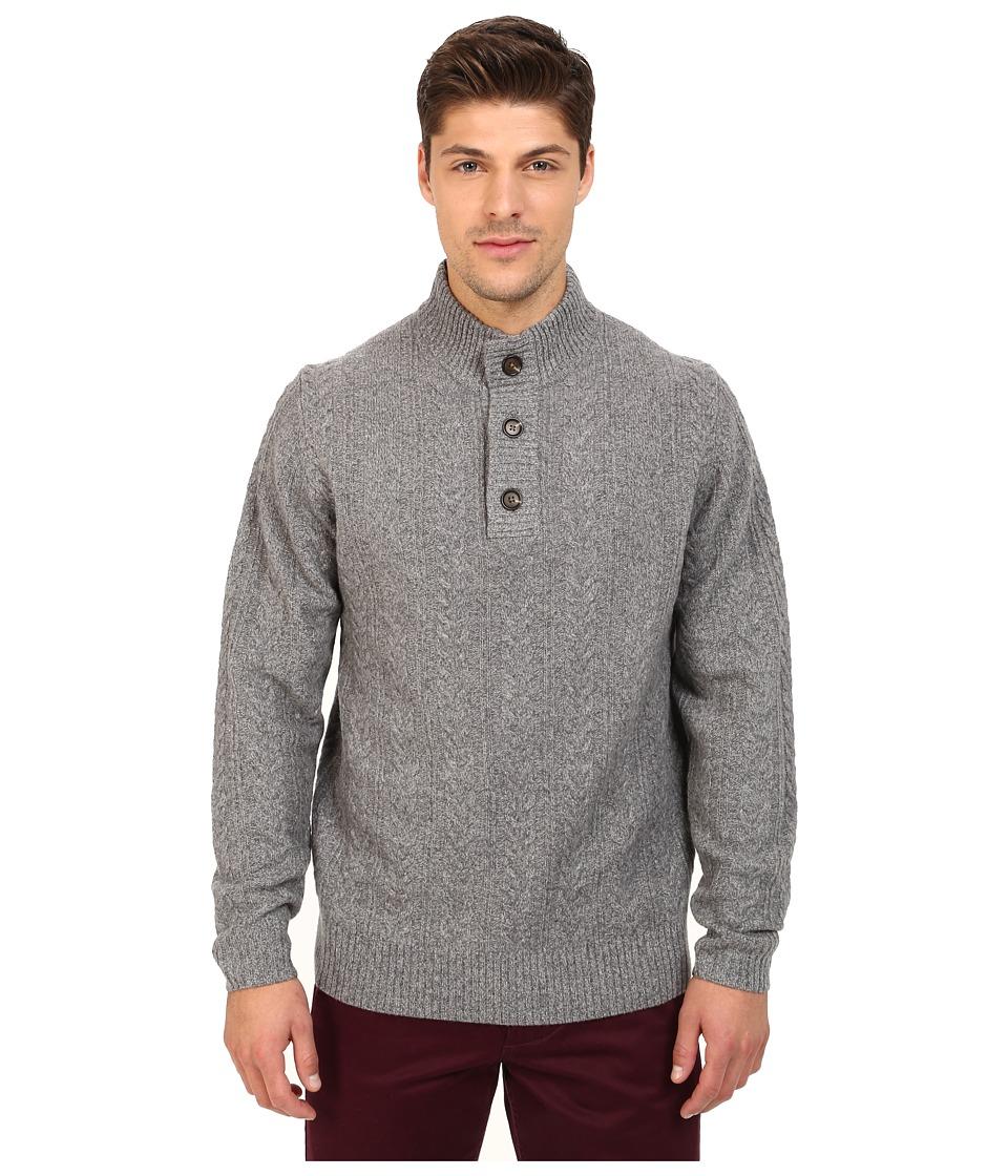 Rodd amp Gunn Leamington 1/4 Button Sweater Ash Mens Sweater