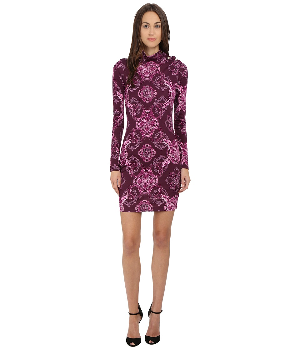 Versace Jeans Long Sleeve Mock Neck Printed Dress Magenta Womens Dress