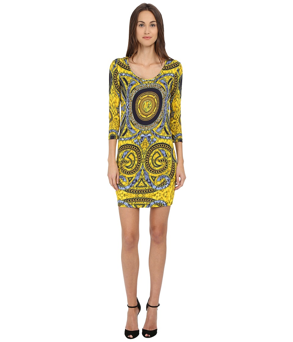 Versace Jeans Long Sleeve Placed Printed Scoop Neck Dress Print Womens Dress