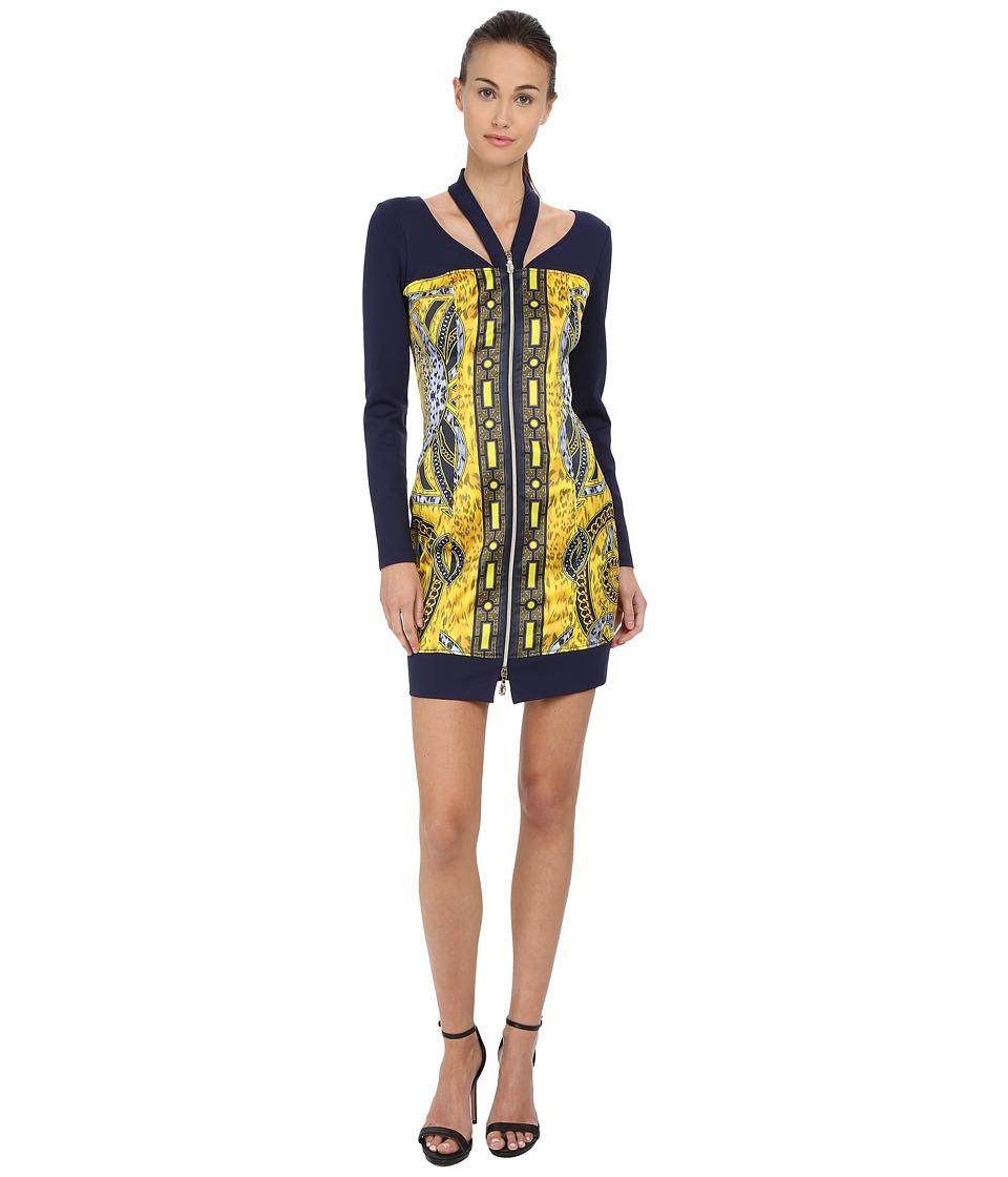 Versace Jeans Long Sleeve Zipper Front Printed Dress Print Womens Dress