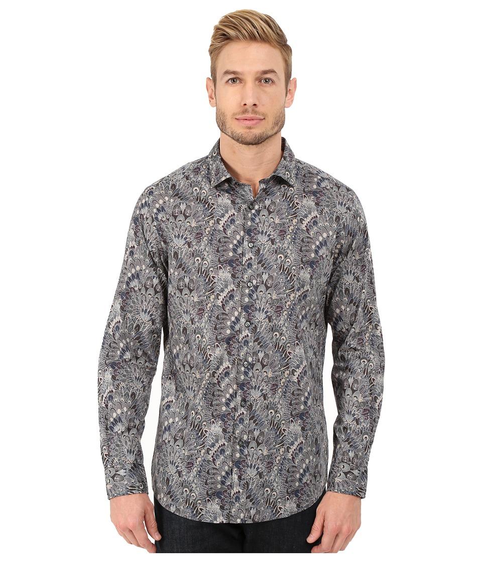 Rodd amp Gunn Huntaway Printed Sport Shirt Pebble Mens Long Sleeve Button Up