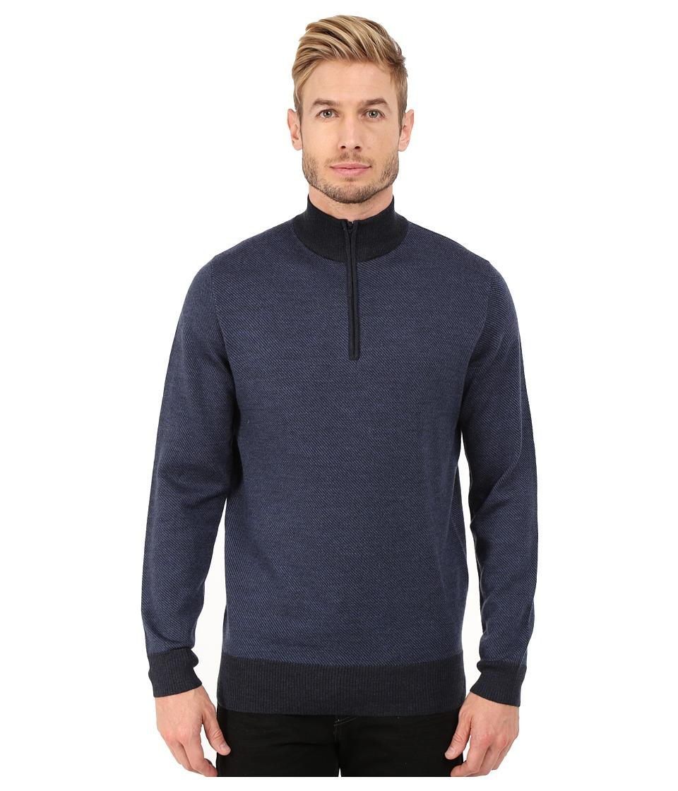 Rodd amp Gunn Benmore 1/4 Zip Knit Marine Mens Long Sleeve Pullover