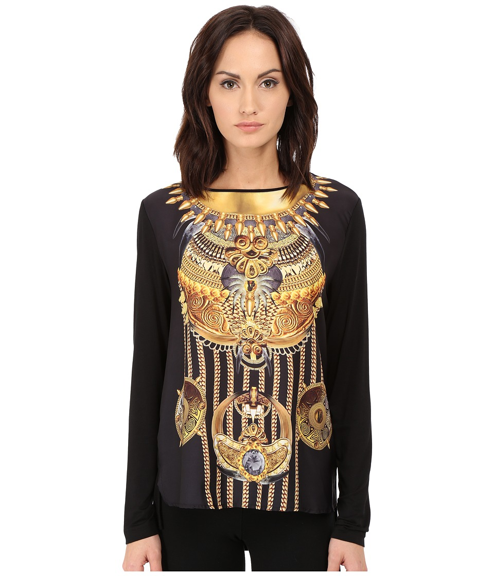 Versace Jeans - Long Sleeve Printed Boat Neck Shirt (Nero) Women