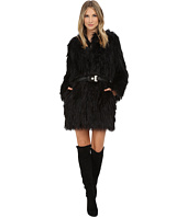 Versace Jeans - Belted Faux Fur Long Sleeve Coat