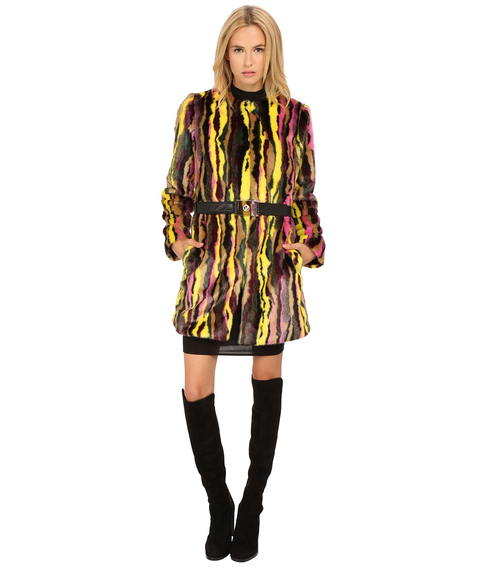Versace Jeans Belted Faux Fur Multi Long Sleeve Coat Nero Womens Coat