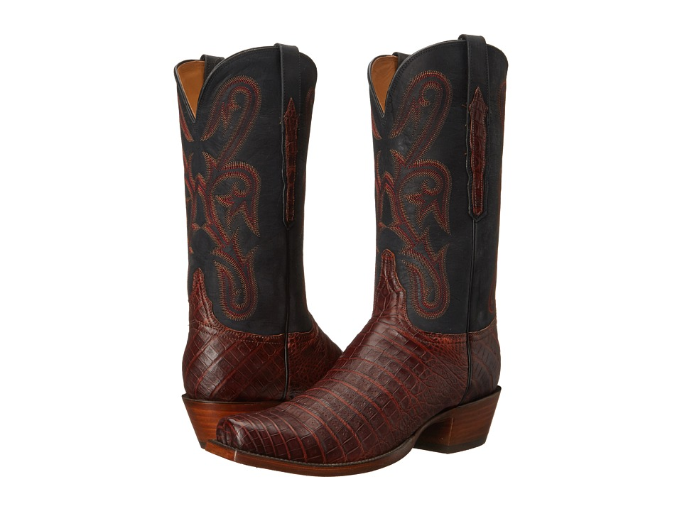 Lucchese - L1454.74 (Raisin Caiman/Black) Cowboy Boots