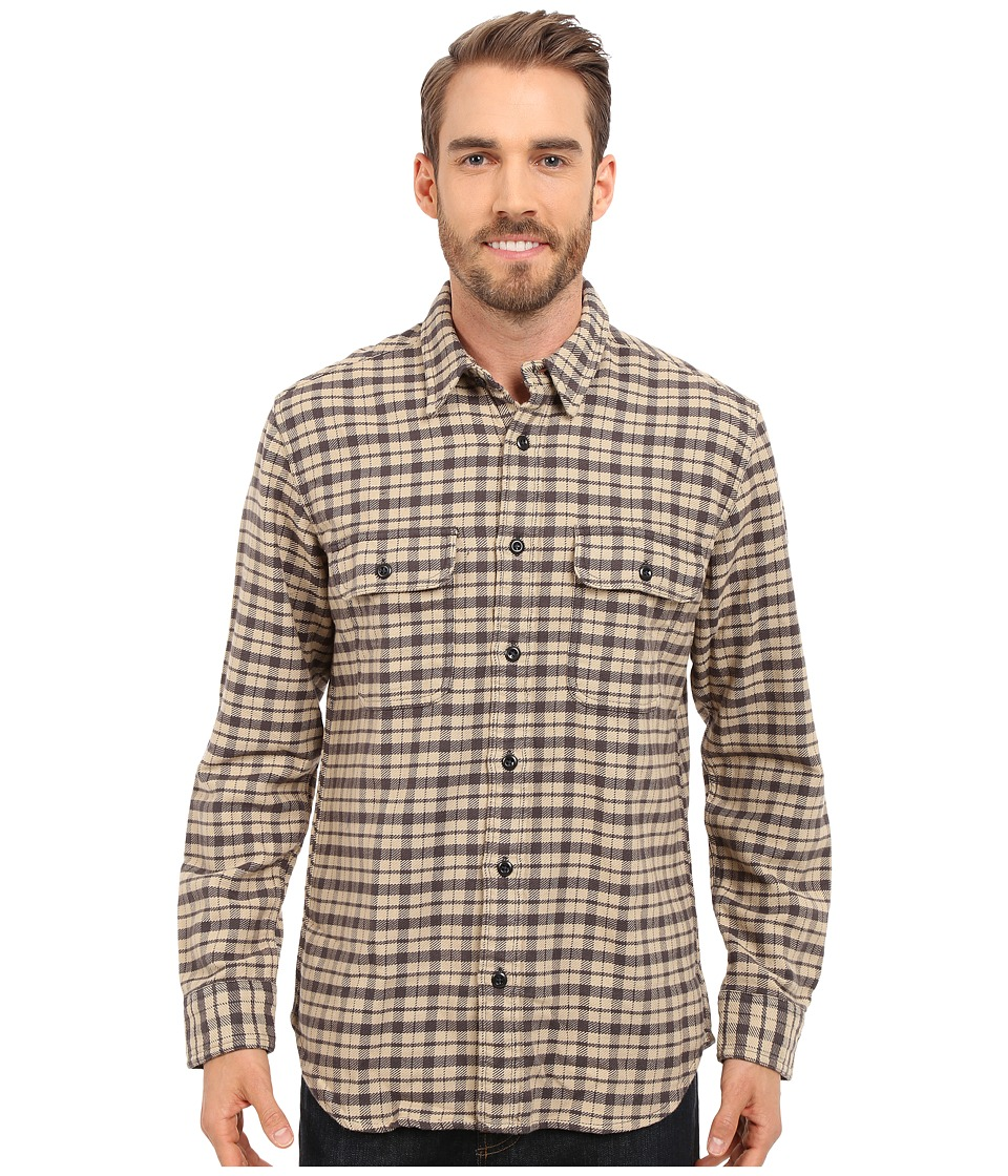 Filson Vintage Flannel Work Shirt Cream/Black/Brown Tartan Mens Clothing