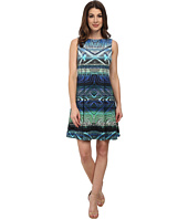 Maggy London - Light Weight Scuba Burnt Aztec Fit and Flare