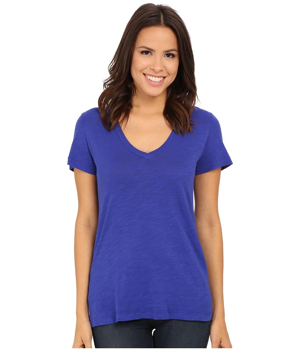 Mod o doc Slub Jersey Short Sleeve V Neck Tee Deep Violet Womens Short Sleeve Pullover