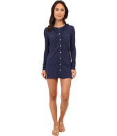 Mod-o-doc - Sheer Slub Jersey Button-Front Hooded Cover-Up