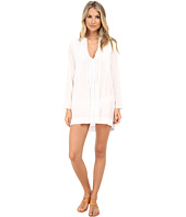 Mod-o-doc - Washed Rayon Voile Tie Front Pintuck Dress Cover-Up