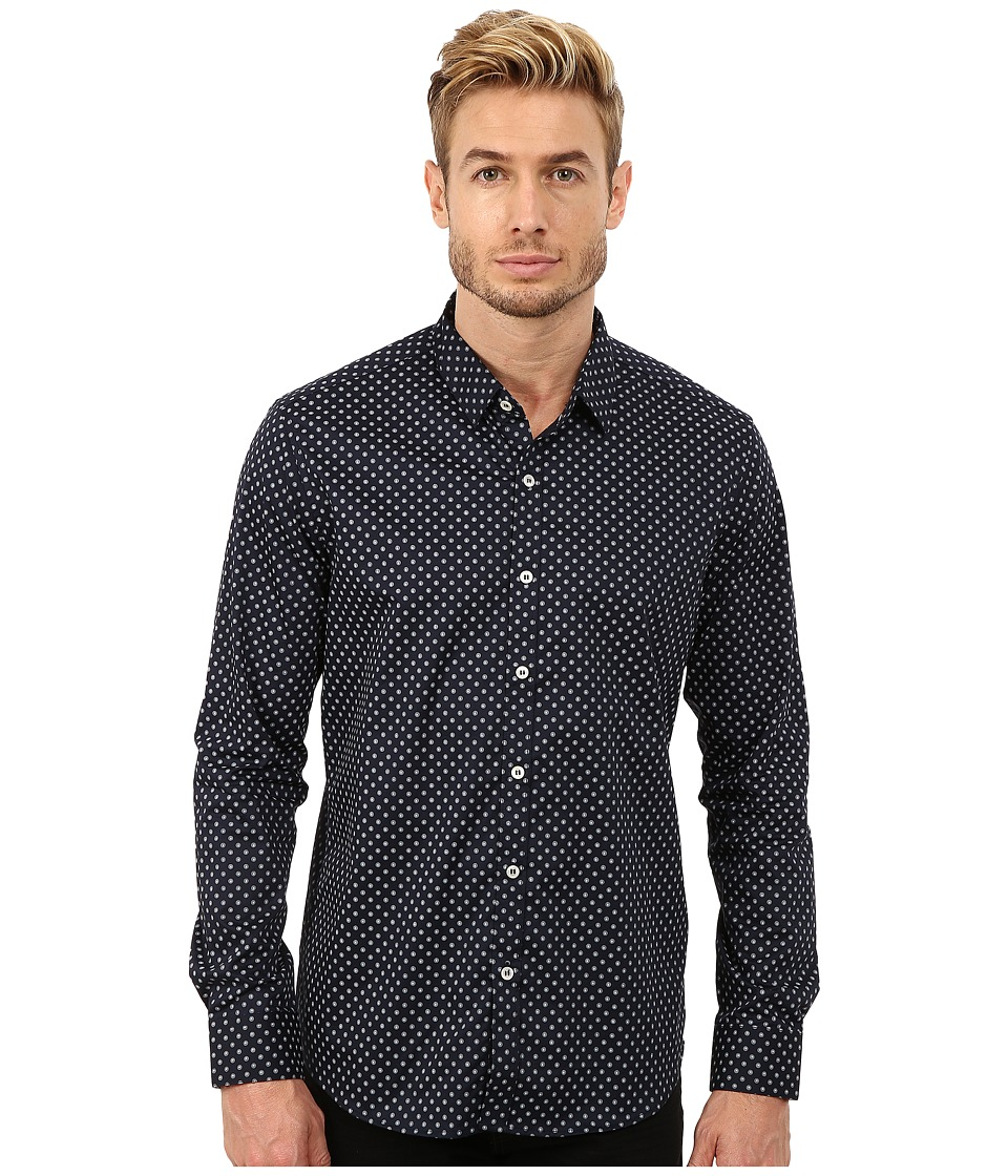 7 Diamonds Blue Fields Top Navy Mens Long Sleeve Button Up
