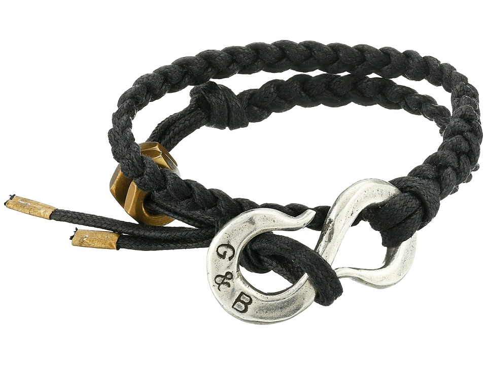 Giles amp Brother Braided S Hook Wrap Bracelet Black/Red Cotton Lacing Hematite Finished Brass Bracelet