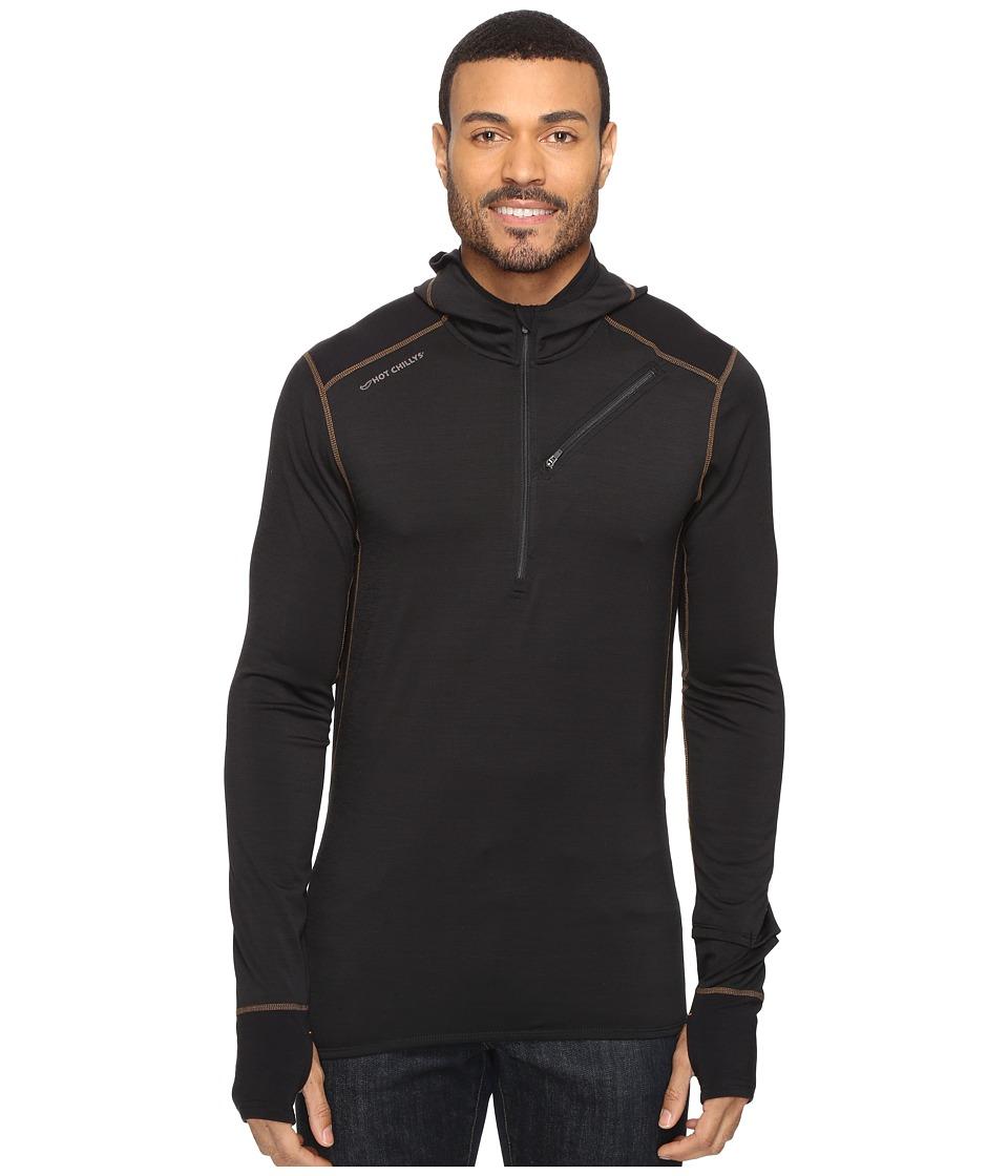 Hot Chillys F8 Merino 8K Hooded Pullover (Solid Black) Men