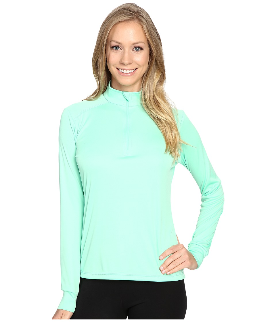 Hot Chillys Peach Zip Tee (Spring Green) Women