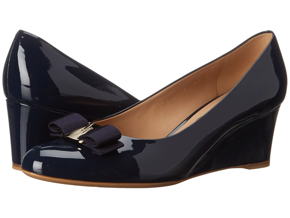 Salvatore Ferragamo Patent Leather Closed Toe Wedge (Oxford Blue Patent) Women