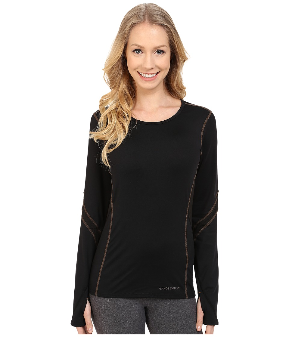 Hot Chillys F8 Performance 8K Crew Neck Top (Black/Black) Women