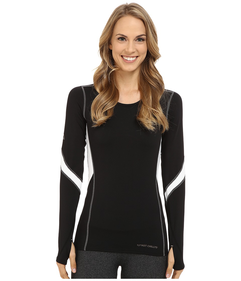 Hot Chillys F8 Performance 8K Crew Neck Top Black/White Womens Short Sleeve Pullover