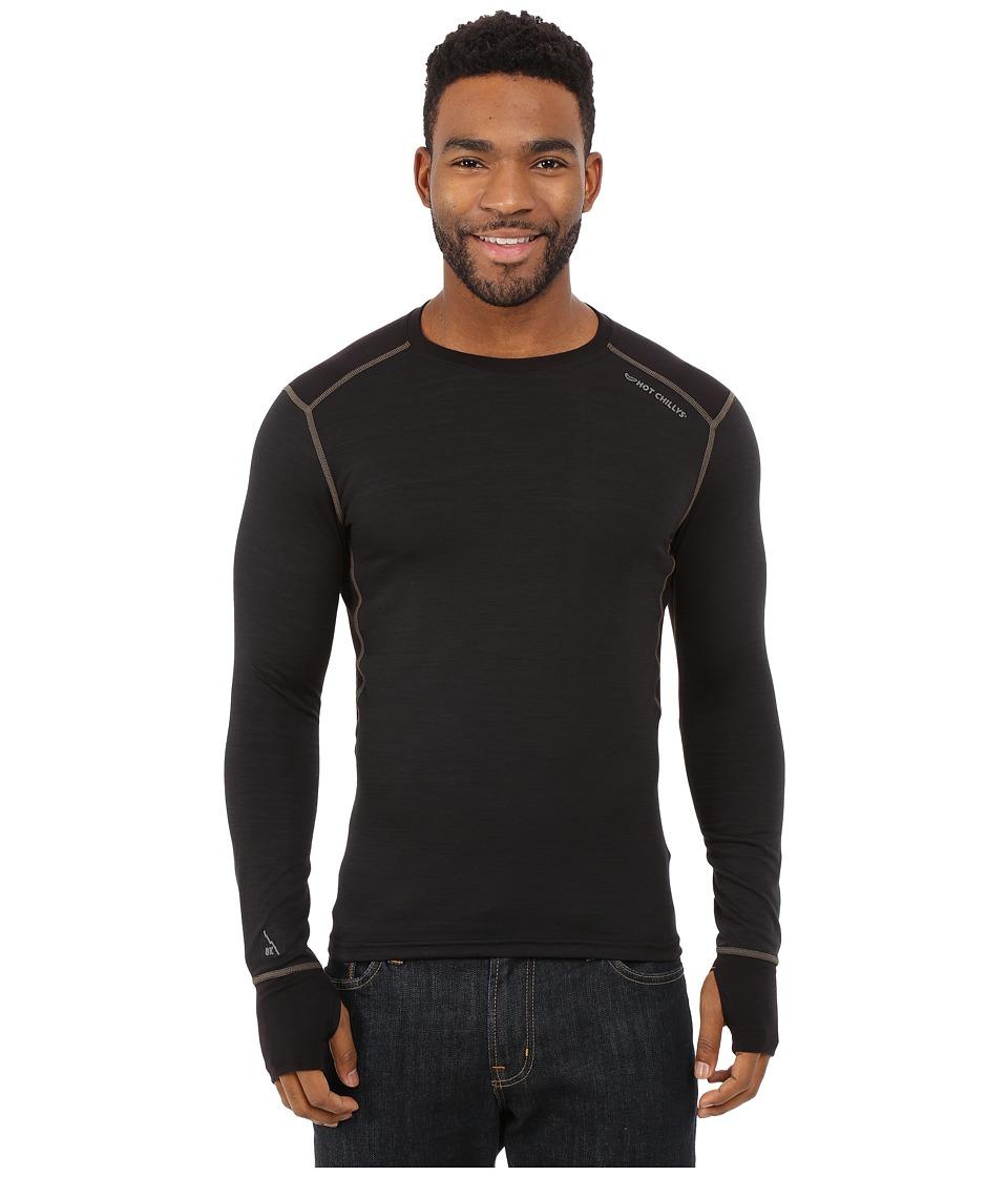 Hot Chillys F8 Merino 8K Crew Solid Black Mens Short Sleeve Pullover