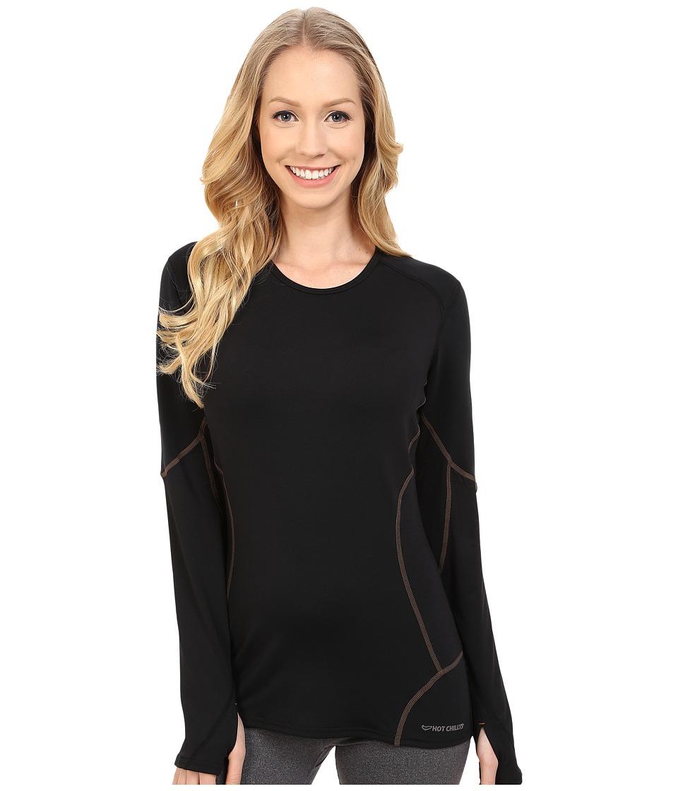 Hot Chillys F9 Endurance 8K Crew Black/Black Womens Short Sleeve Pullover