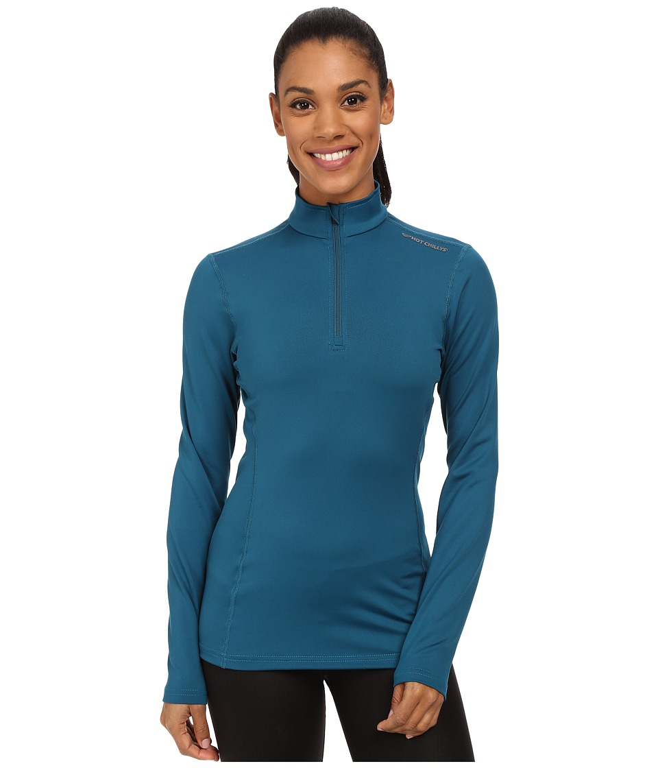 Hot Chillys Micro-Elite Chamois 8K Solid Zip-T (Lagoon) Women