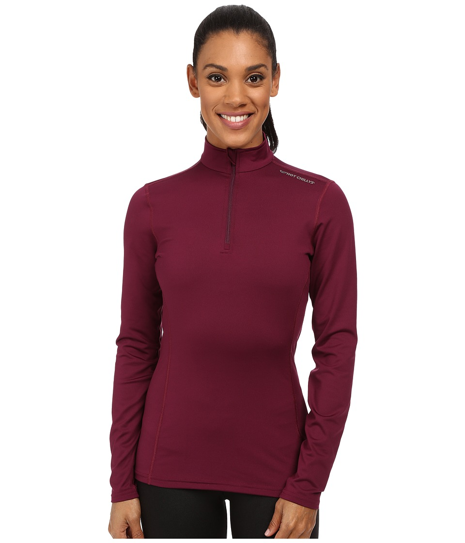 Hot Chillys Micro Elite Chamois 8K Solid Zip T Viola Womens Long Sleeve Pullover