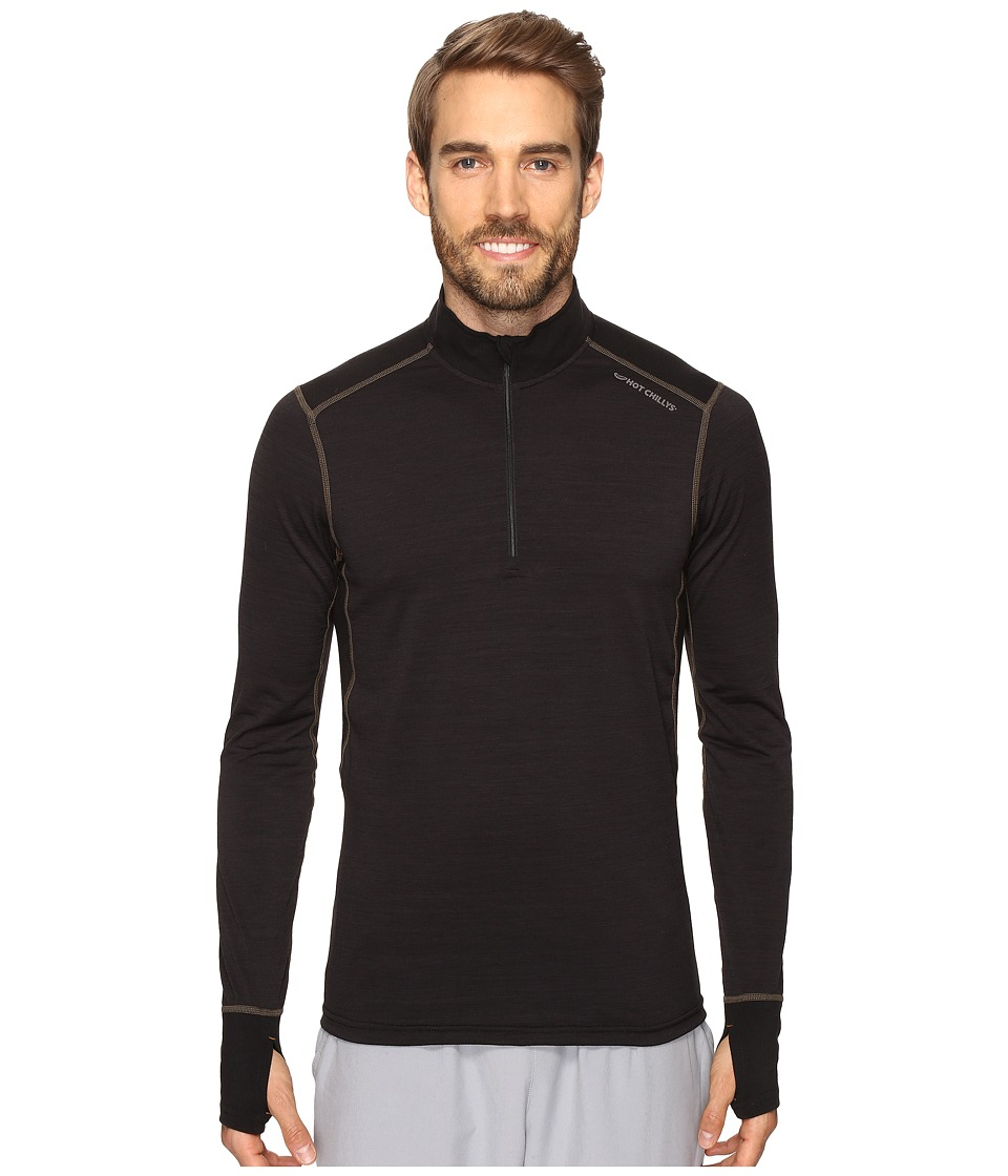 Hot Chillys F8 Merino 8K Zip Tee (Solid Black) Men