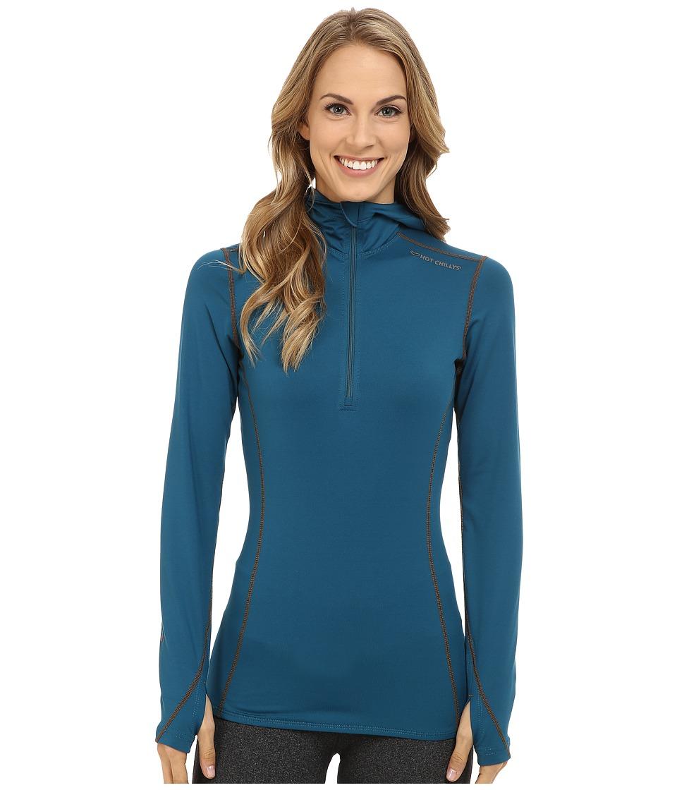 Hot Chillys Micro Elite Chamois 8K Hooded Zip Lagoon Womens T Shirt