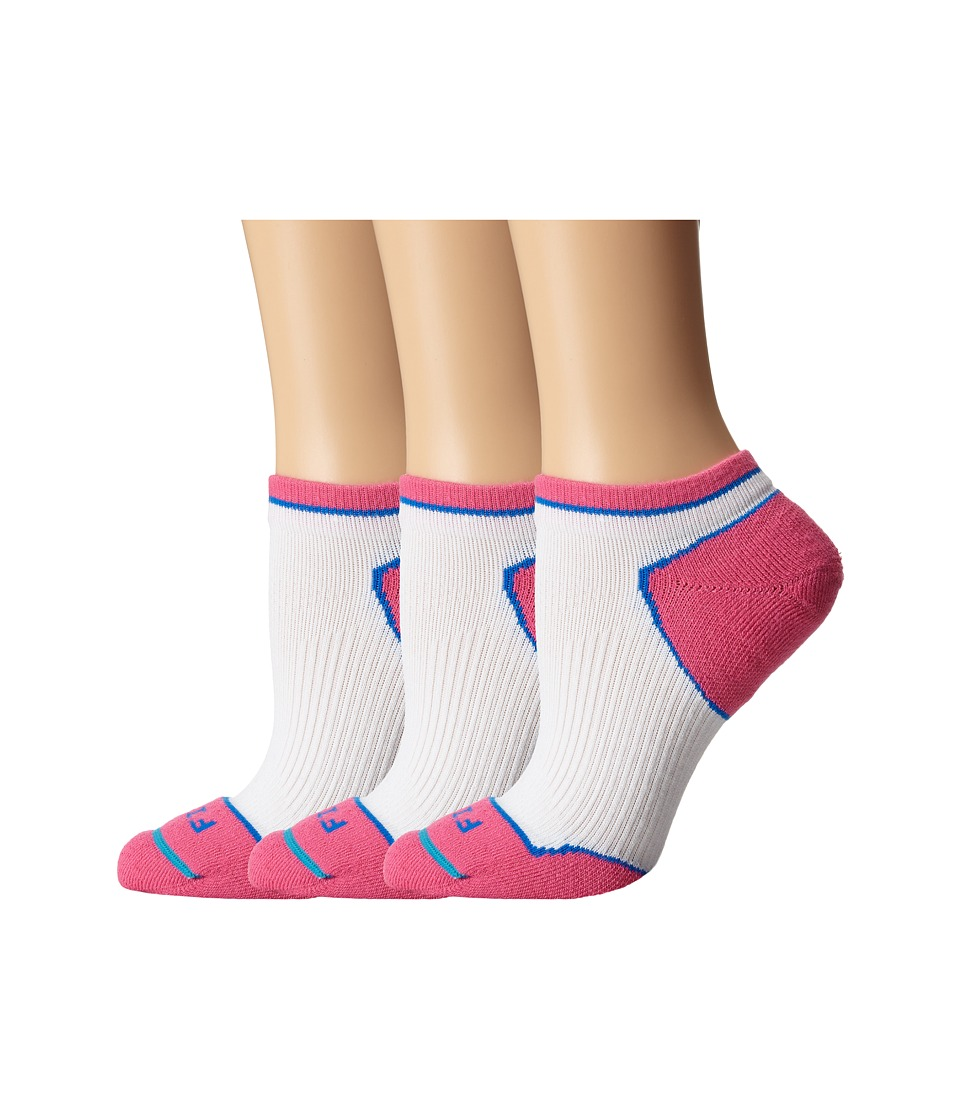 Fits Light Runner Tech Low 3 Pack White/Pink Glow Womens Low Cut Socks Shoes