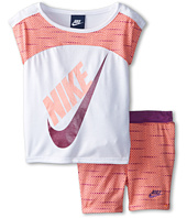 Nike Kids - Varigated Dot Dolman Short Sleeve & Bike Shorts Set (Toddler)