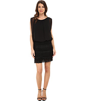 Aidan Mattox - Shutter Skirt Lace and Fringe Blouson Dress
