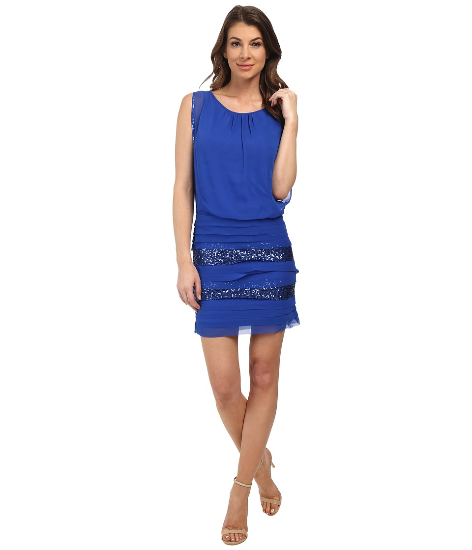 Aidan Mattox Blouson Dress w/ Shutter Tuck Skirt (Cobalt) Women