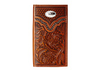 M&F Western Embossed Floral Oval Concho Rodeo Wallet (Brown)