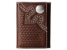 M&F Western Embossed Tab Tri-Fold Wallet (Brown)