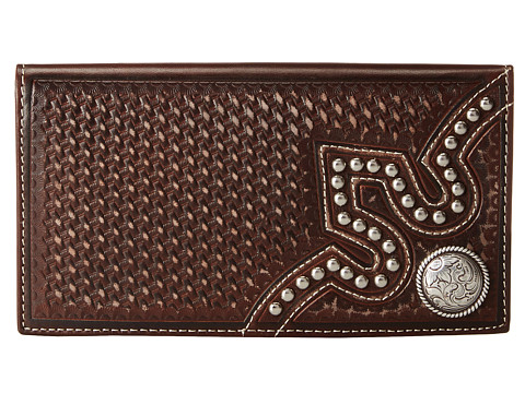 M&F Western Embossed Tab Rodeo Wallet - Brown