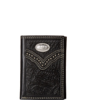 M&F Western - Embossed Floral Oval Concho Tri-Fold Wallet