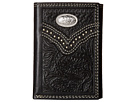 M&F Western Embossed Floral Oval Concho Tri-Fold Wallet