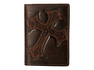 M&F Western Large Tooled Cross Overlay Rodeo Card Holder (Distressed Brown)