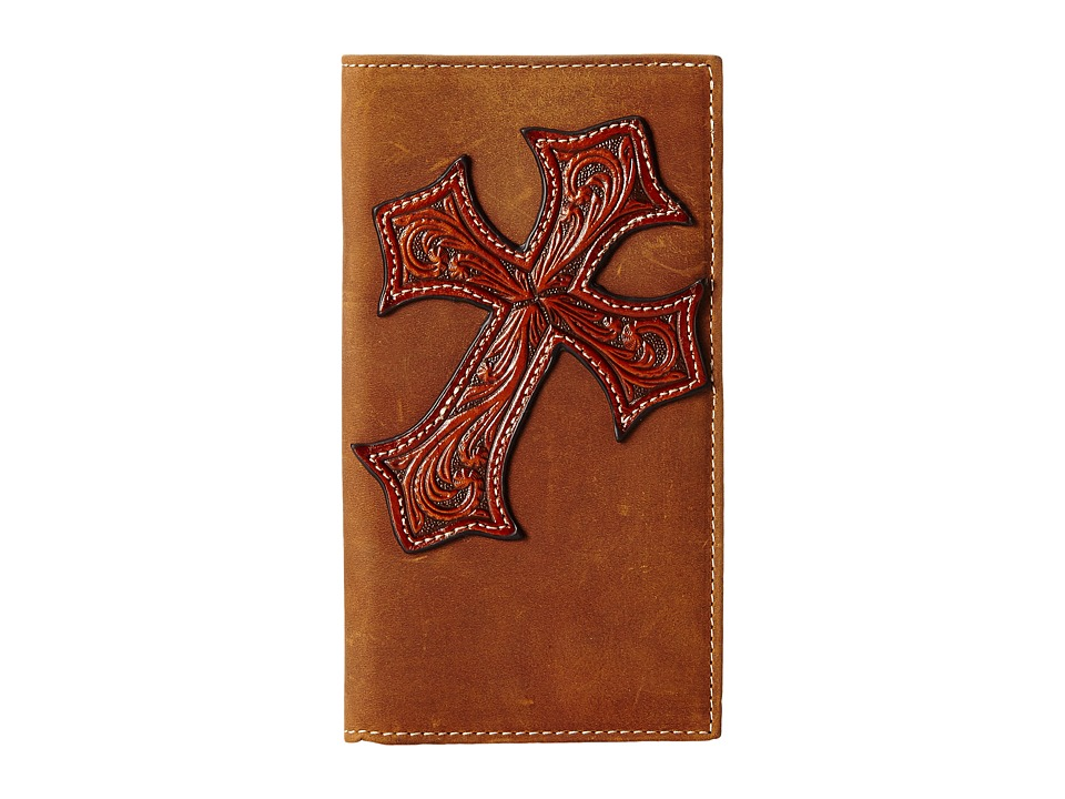 MampF Western Large Tooled Cross Overlay Rodeo Wallet Brown Wallet Handbags