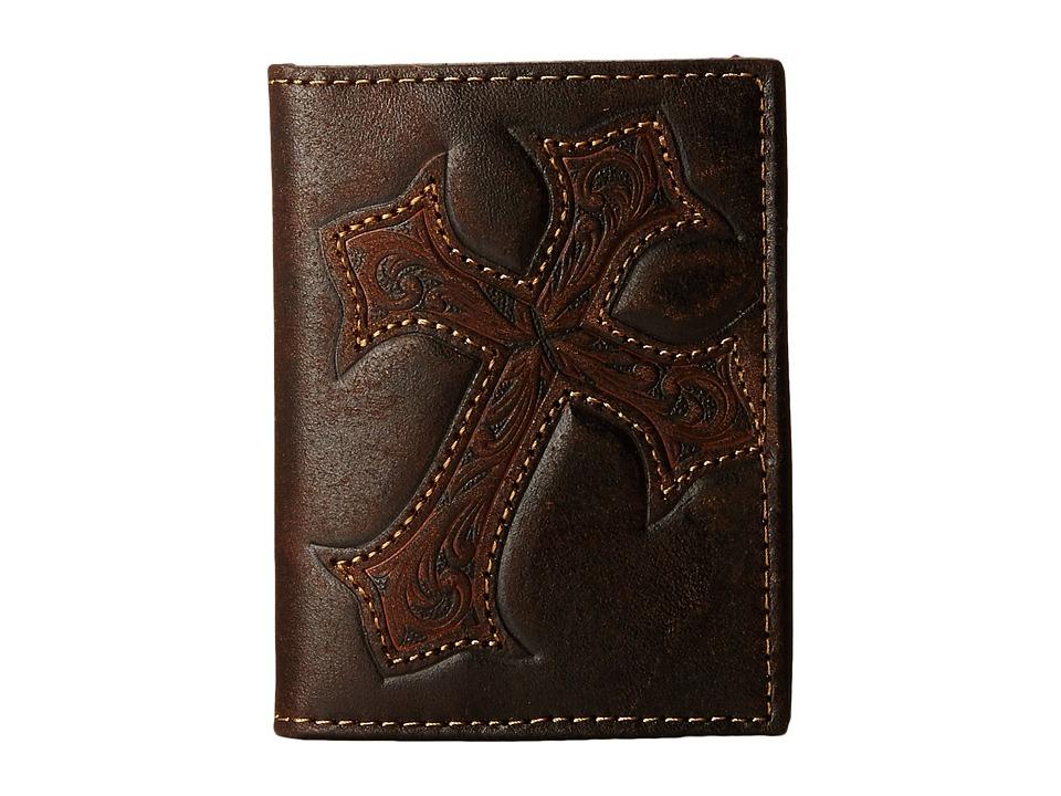 MampF Western Large Tooled Cross Overlay Bi Fold Money Clip Distressed Brown Wallet Handbags