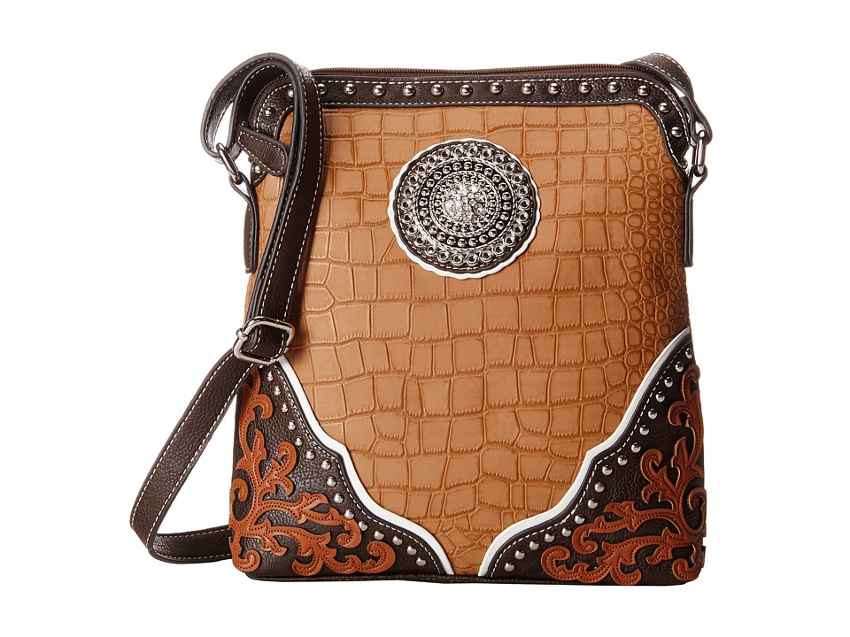 M&F Western - Gator Concho Crossbody (Tan) Cross Body Handbags