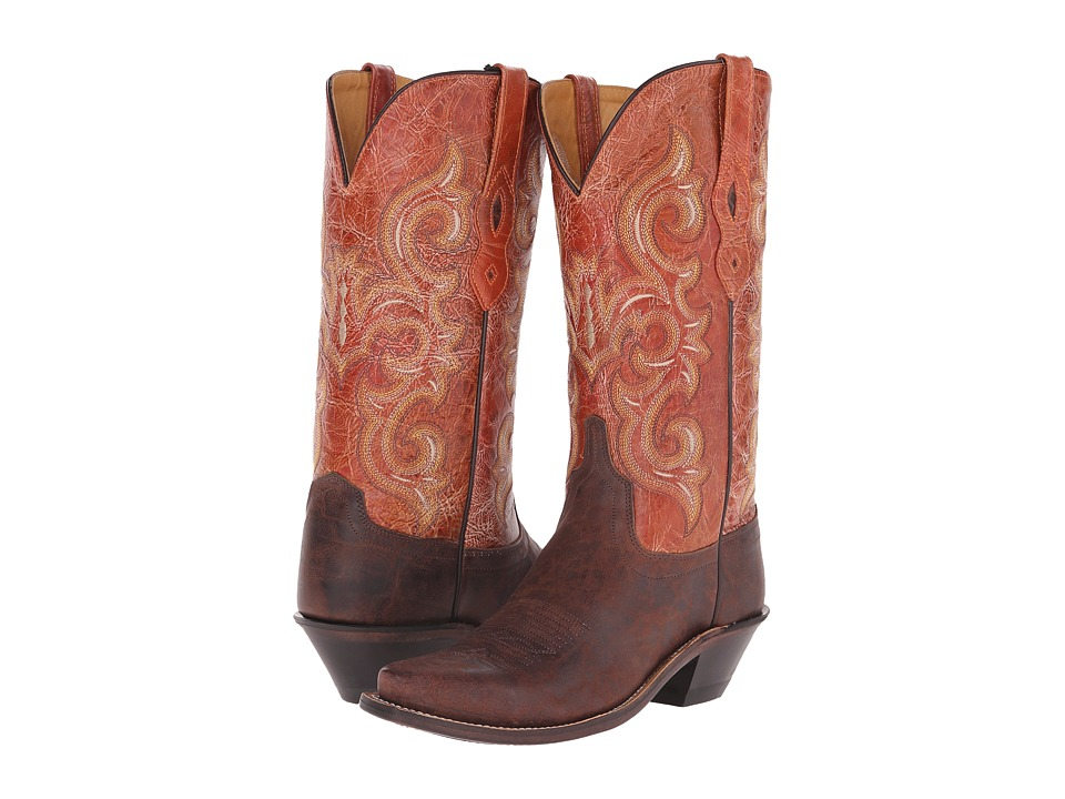 Old West Boots - LF1543 (Brown Truffle/Antique Waxy Red) Cowboy Boots