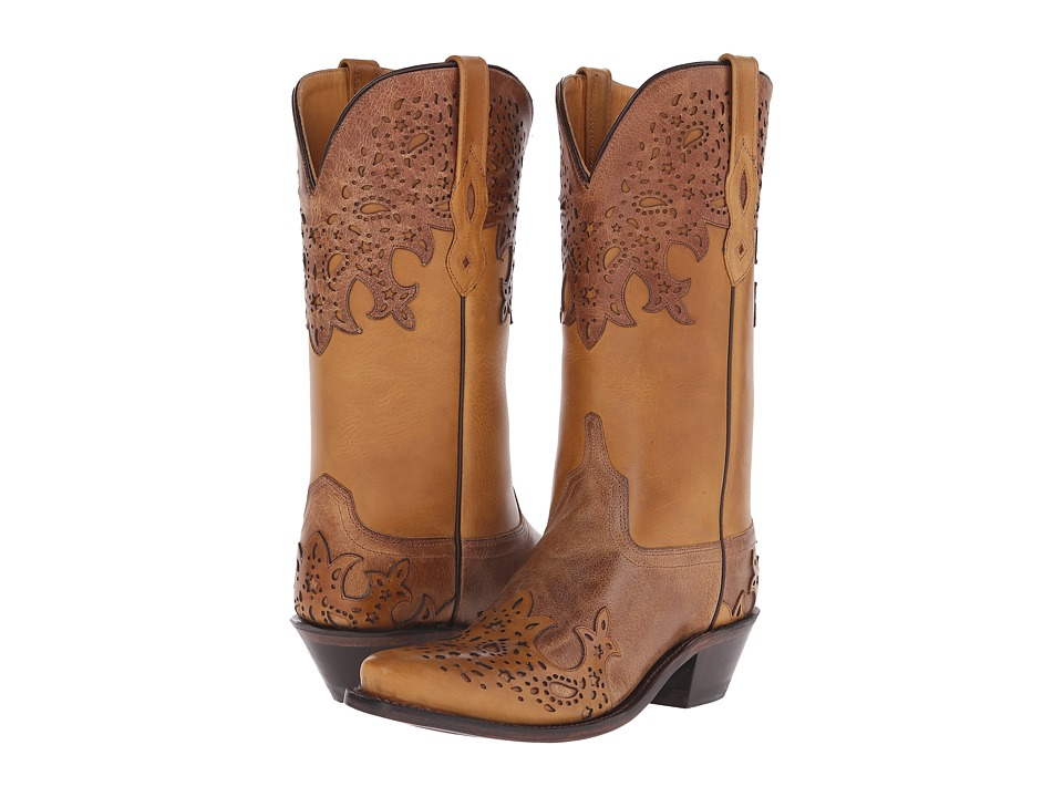 Old West Boots - LF1540 (Tan Fry/Light Tan) Cowboy Boots