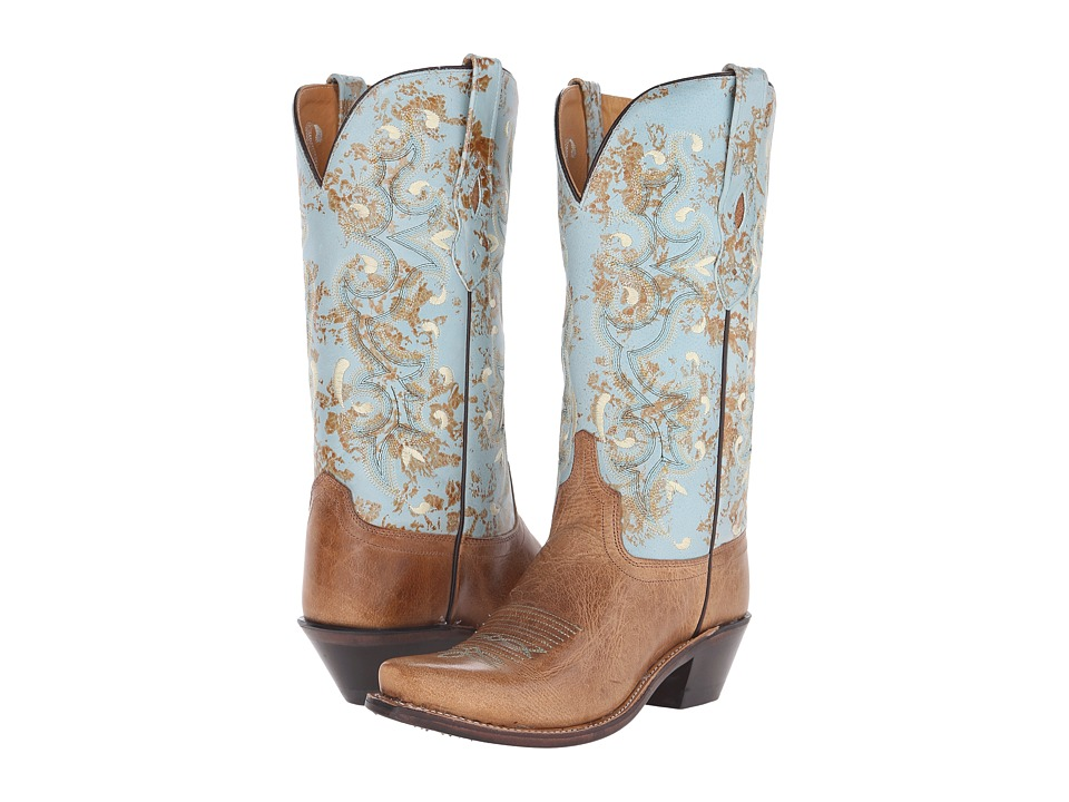 Old West Boots LF1542 (Tan Fry/Turquoise) Cowboy Boots